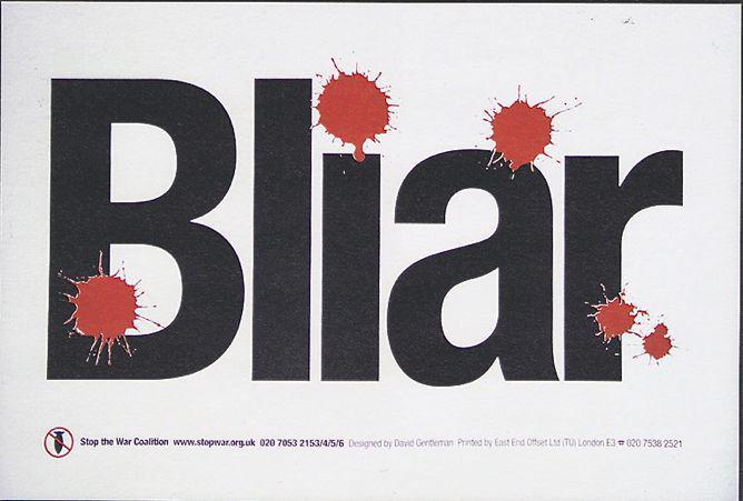 arcv Bliar placard for stop the war