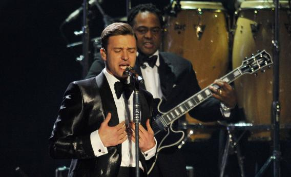 Justin Timberlake performs at the Brit Awards in February