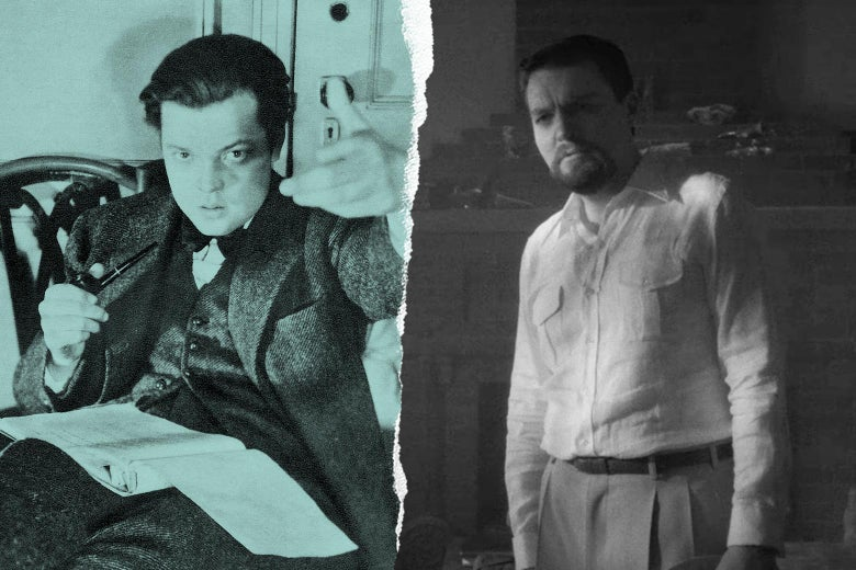 Orson Welles, and Tom Burke as Orson Welles in Mank.