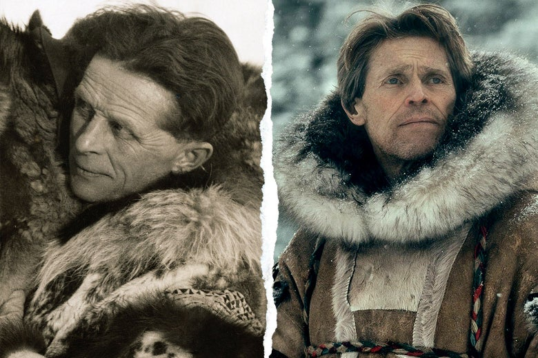 Diptych of the real Seppala and Dafoe as Seppala.