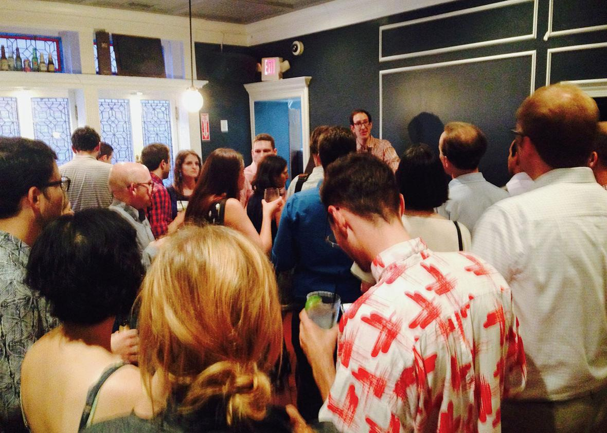 Executive editor Josh Levin toasts the D.C. happy hour.