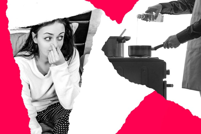 Photo illustration of a woman in bed holding her nose next to a man cooking on a stovetop.