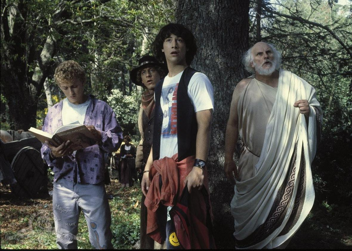 Still of Keanu Reeves, Dan Shor, Tony Steedman and Alex Winter in Bill & Ted's Excellent Adventure (1989)