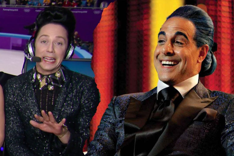 Left: Johnny Weir covers his eyes and wears a dark blue, sequined blazer. Right: Stanley Tucci as Caesar Flickerman wears a similar blazer.