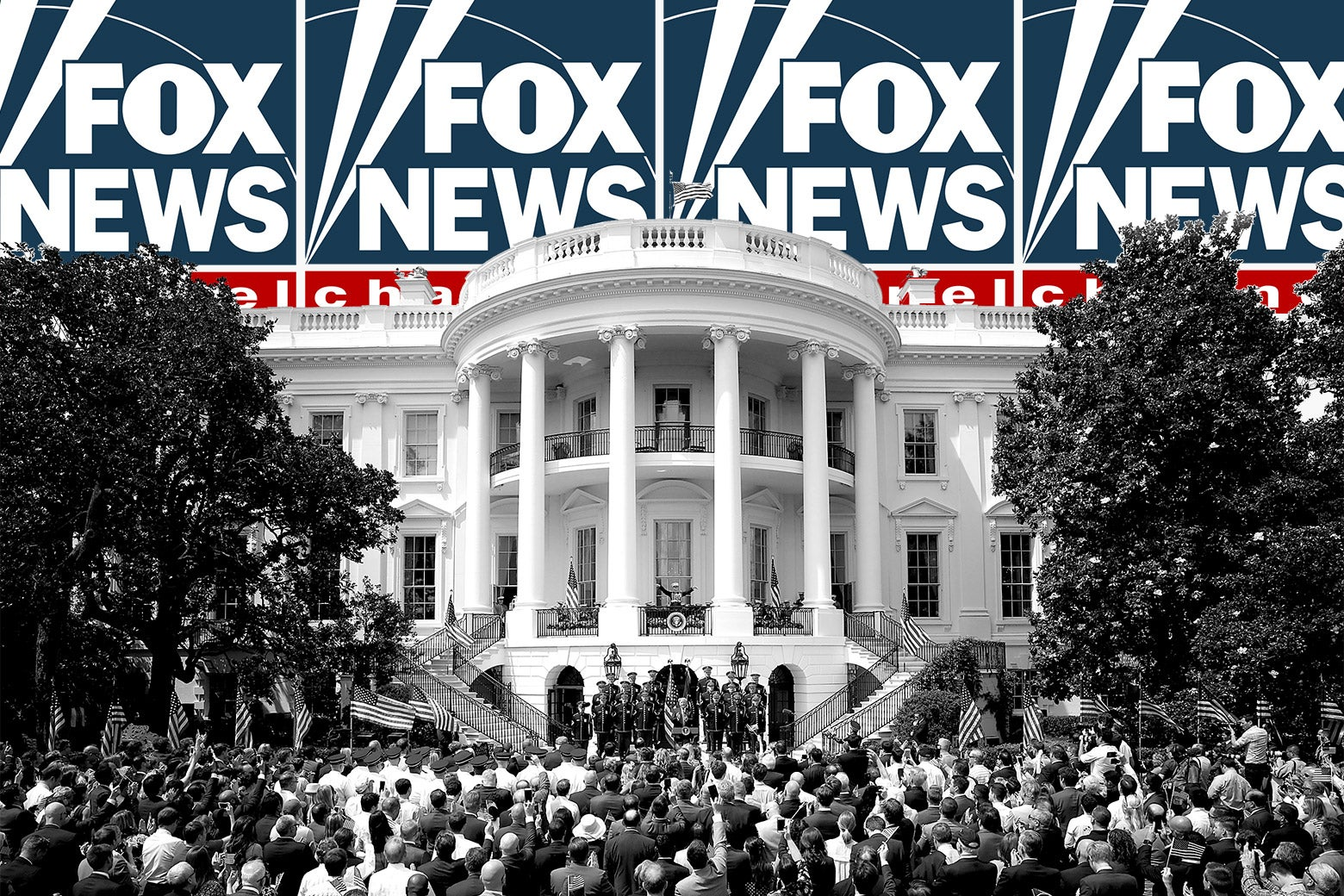 The Fox News logo displayed multiple times behind the White House