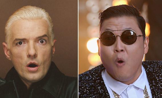 Austrian musician Falco and Sourth Korean musician PSY.
