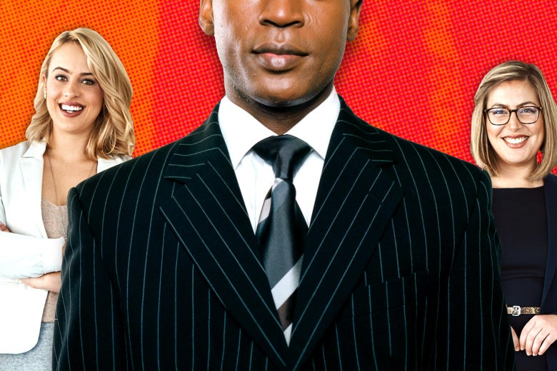 A black man in a suit is flanked at left and right by white, blond women.