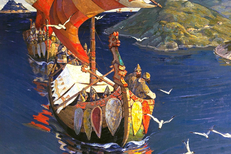 A painting depicting Vikings in a longboat as seagulls fly past.