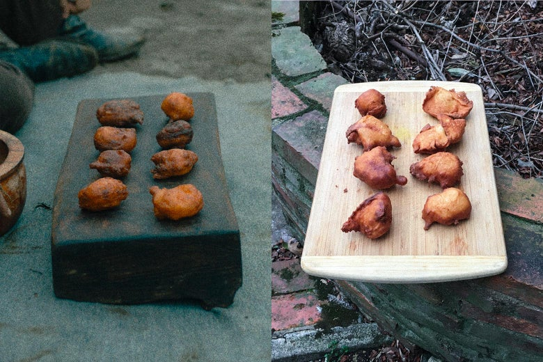 A side by side of First Cow's oily cakes and the author's oily cakes, looking exactly the same.