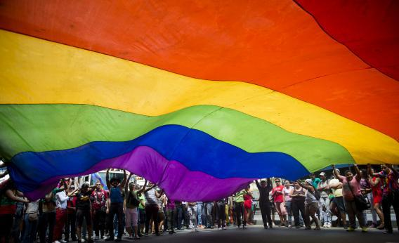 People wave a huge rainbow flag during the 35th Gay Pride Parade in downtown Caracas on June 30, 2013.