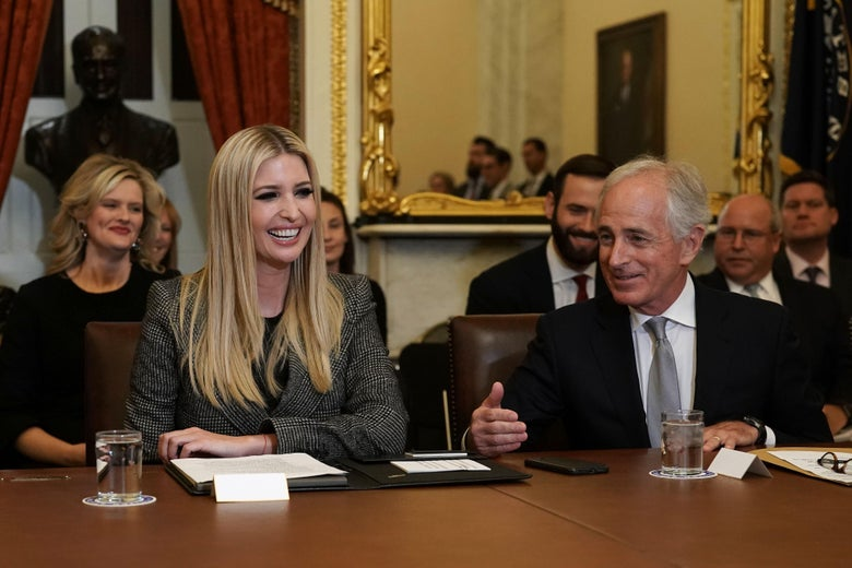 Sen. Bob Corker speaks as daughter of President Donald Trump and White House adviser Ivanka Trump listens during a meeting on investments at the U.S. Capitol on November 14, 2018 in Washington, D.C.