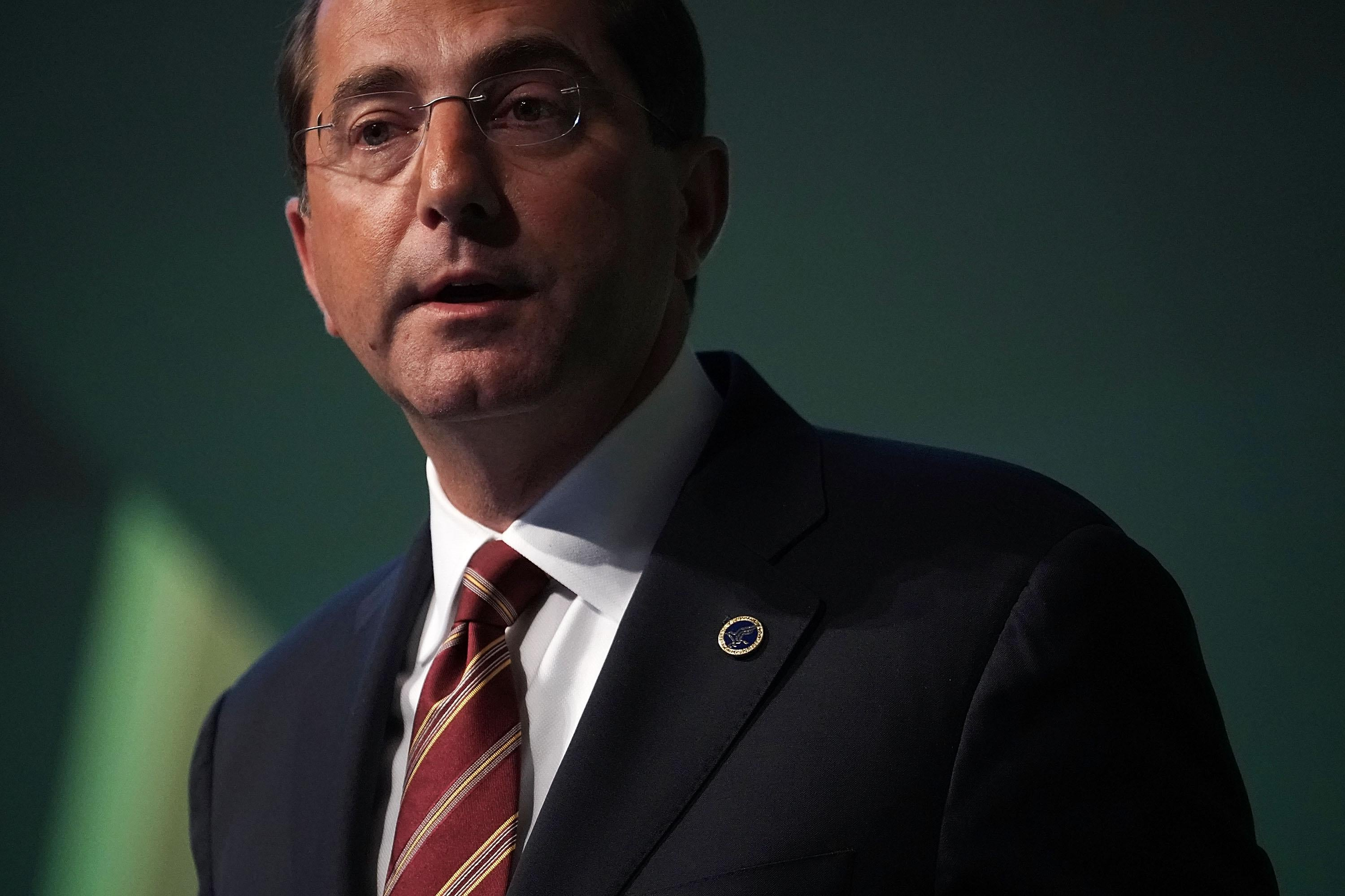 U.S. Secretary of Health and Human Services Alex Azar speaks on prescription drugs for the market during the 2018 National Academy of Medicine Annual Meeting October 15.