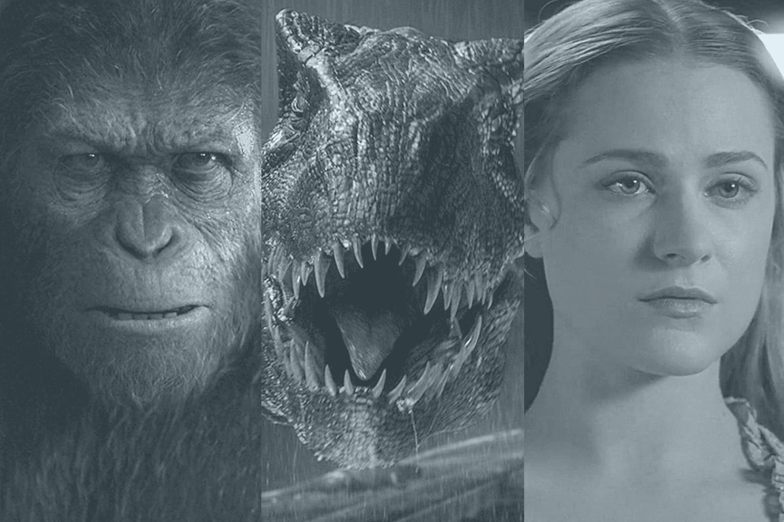 Stills from War of the Planet of the Apes (of an ape), Jurassic World: Fallen Kingdom (of a dinosaur), and Westworld (of Evan Rachel Wood as Dolores).
