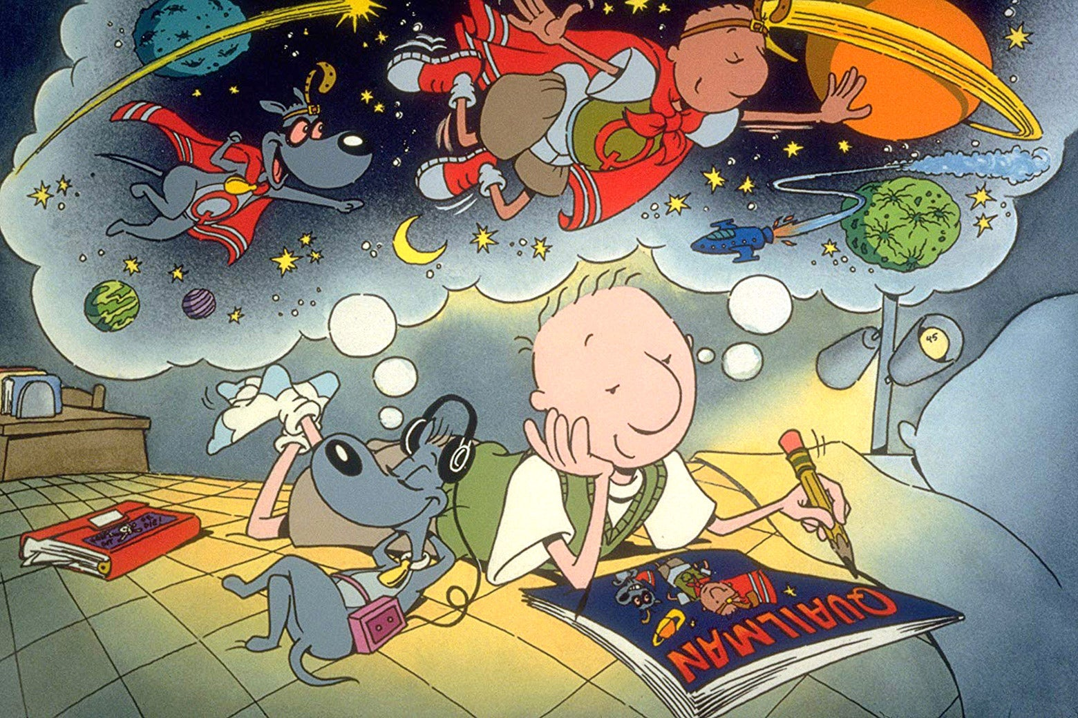 A still from Nickelodeon's Doug, featuring Doug and his dog.