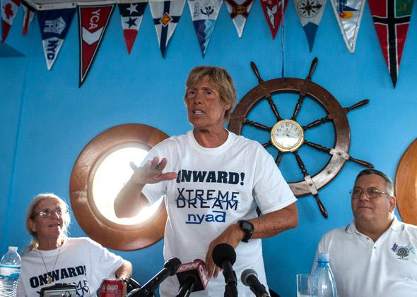 US swimmer Diana Nyad gestures during a press conference held at the Ernest Hemingway Nautical Club in Havana on August 30, 2013.