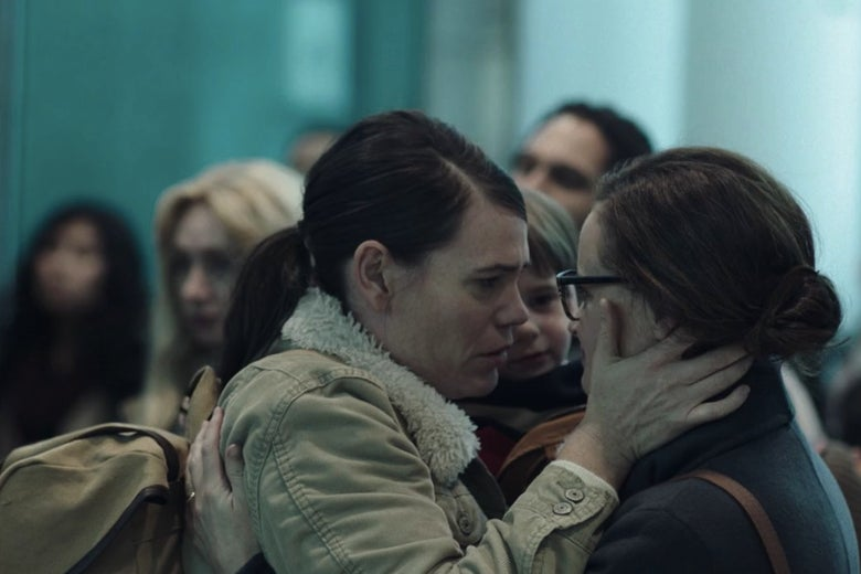 Clea DuVall and Alexis Bledel as Sylvia and Emily in The Handmaid's Tale.