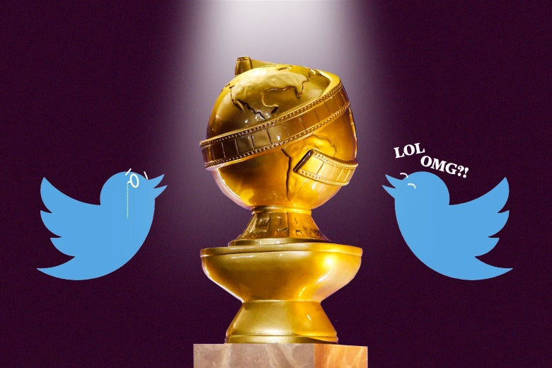 Two Twitter birds, one with a monocle and the other saying LOL and OMG, surrounding a Golden Globe trophy.