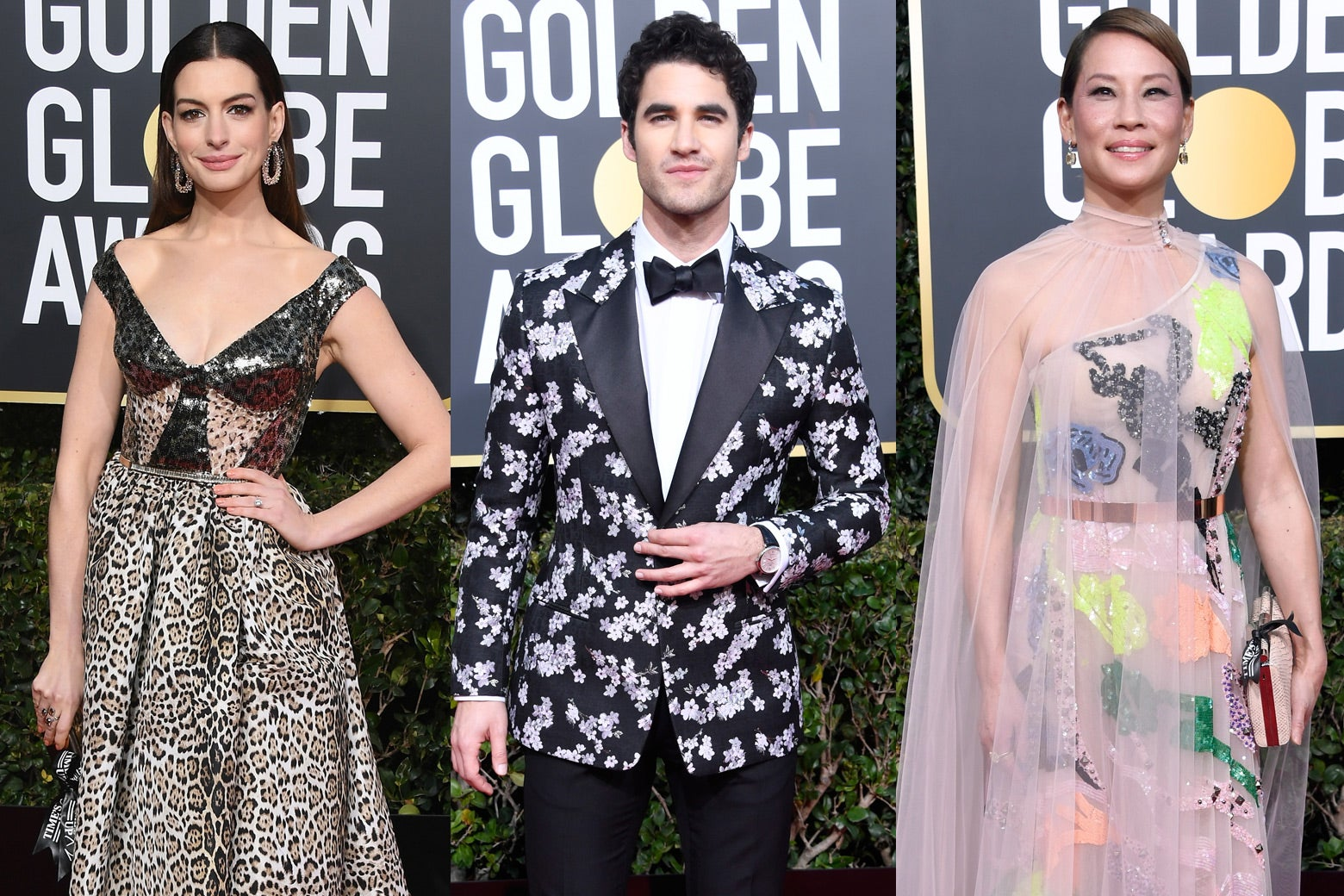 Anne Hathaway, Darren Criss, and Lucy Liu at the 2019 Golden Globes.