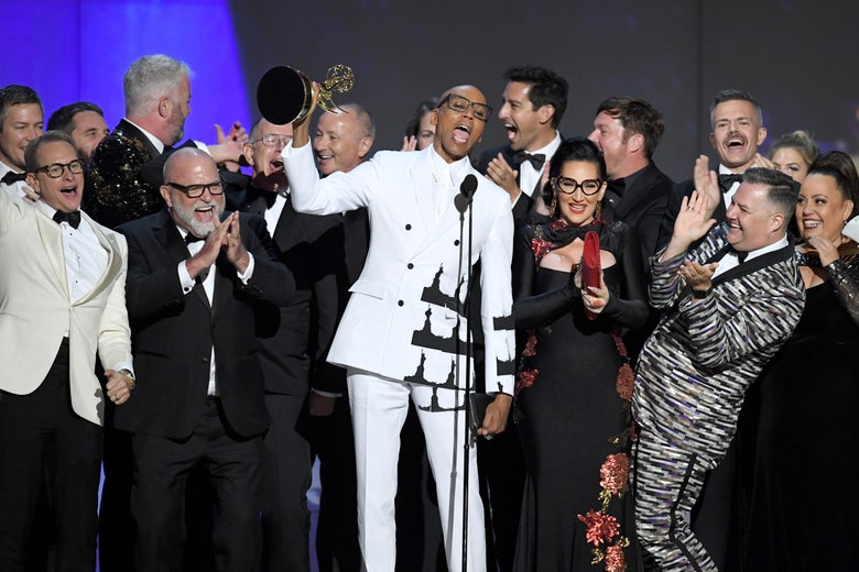 RuPaul and cast and crew onstage accepting the award.
