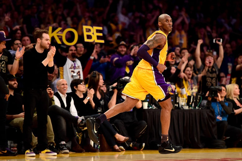 LOS ANGELES, CA - APRIL 13:  Kobe Bryant #24 of the Los Angeles Lakers reacts in the third quarter against the Utah Jazz at Staples Center on April 13, 2016 in Los Angeles, California. NOTE TO USER: User expressly acknowledges and agrees that, by downloading and or using this photograph, User is consenting to the terms and conditions of the Getty Images License Agreement.  (Photo by Harry How/Getty Images)