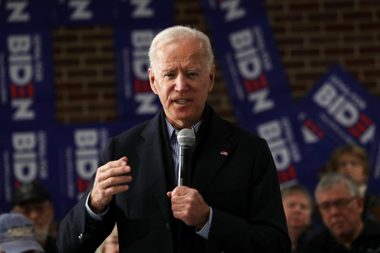 Joe Biden speaks during a campaign stop at Tipton High School on Saturday in Tipton, Iowa.