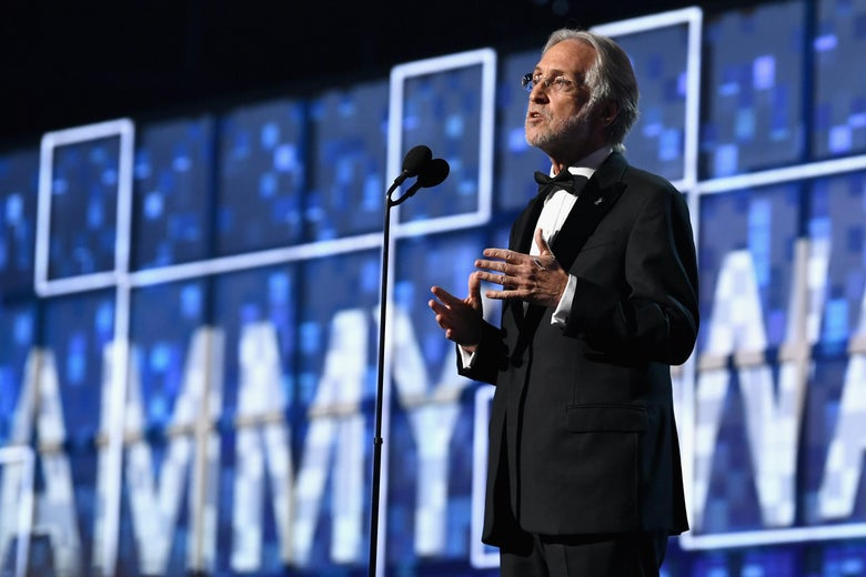 President and CEO of The Recording Academy Neil Portnow speaks during the 61st Annual GRAMMY Awards at Staples Center on February 10, 2019 in Los Angeles, California.  (Photo by Emma McIntyre/Getty Images for The Recording Academy)