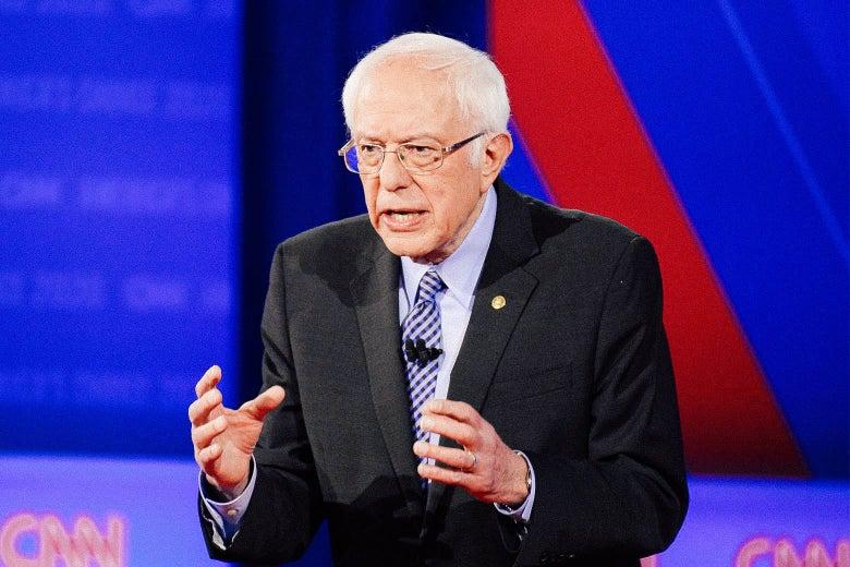 Bernie Sanders onstage.
