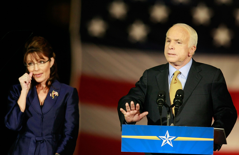 John McCain conceding victory beside running mate Sarah Palin in the U.S. presidential election on Nov. 4, 2008.
