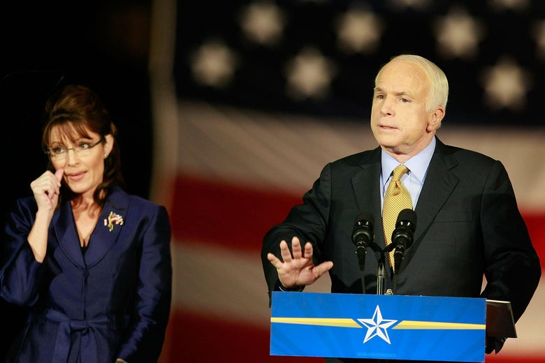 John McCain conceding victory beside running mate Sarah Palin in the U.S. presidential election on Nov. 4, 2008.