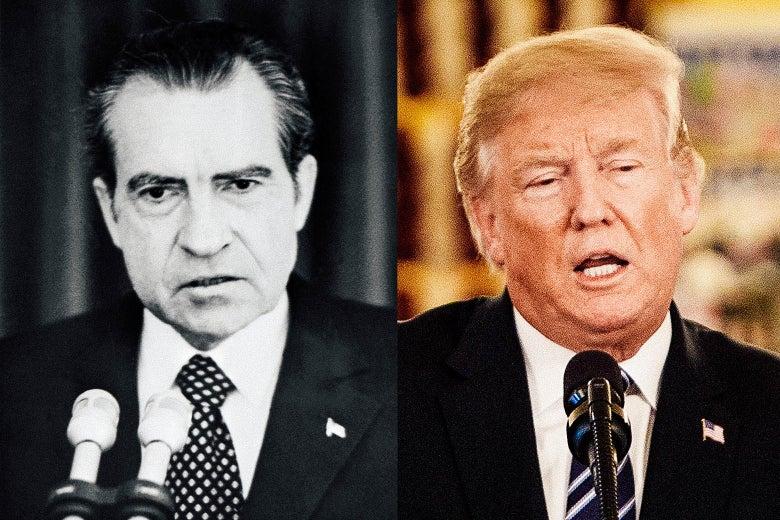 Photo illustration of Richard Nixon and Donald Trump