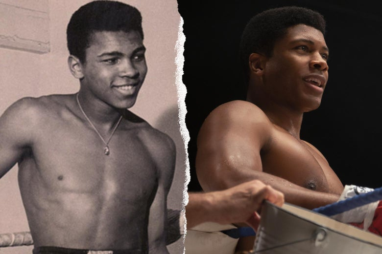 Cassius Clay in real life and in the movie.