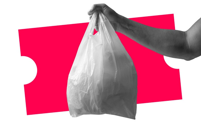 Man holding a plastic bag in front of a pink price tag.