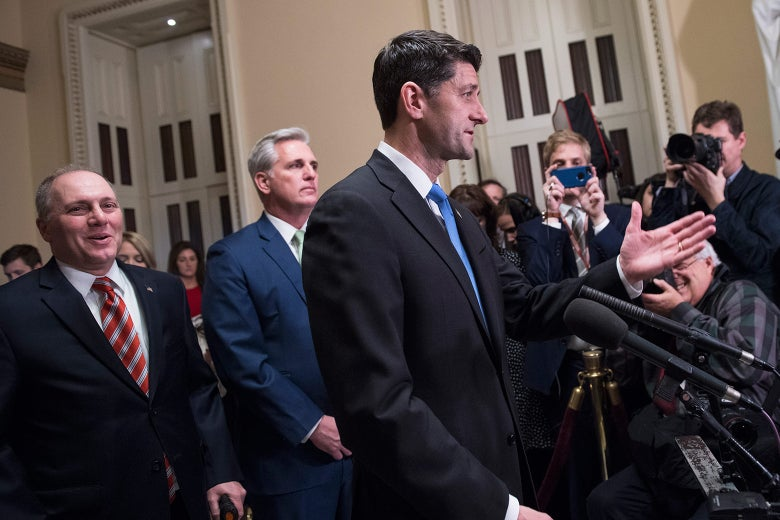 Speaker Paul Ryan, R-Wis., conducts a news conference in the Capitol after the House passed the Republican tax plan on December 19, 2017. House Majority Whip Steve Scalise, R-La., left, and House Majority Leader Kevin McCarthy, R-Calif., also appear.