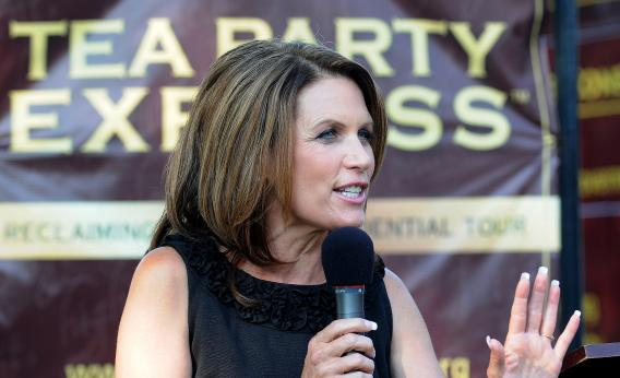 Michele Bachmann speaks at a Tea Party Express Rally at Waterworks Park on Aug. 31, 2011, in Des Moines, Iowa.