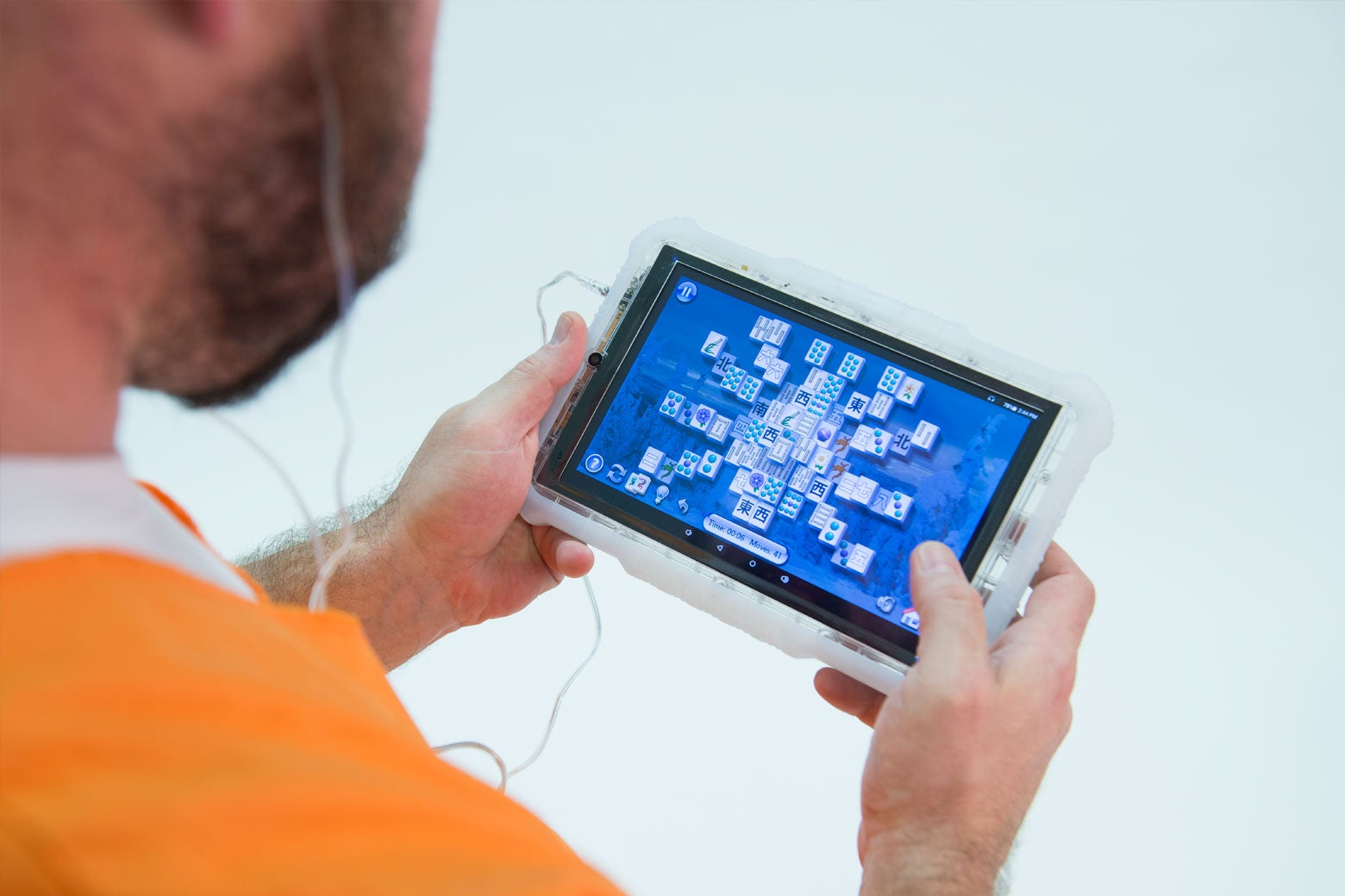 An inmate uses a Global Tel Link tablet.