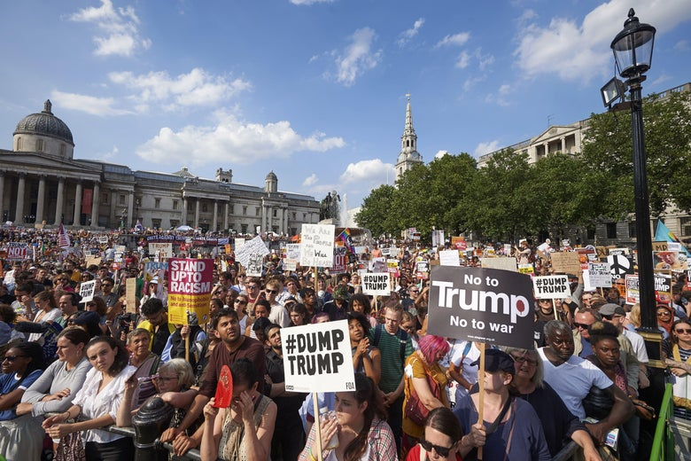 Protesters gather in London's Trafalgar Square.