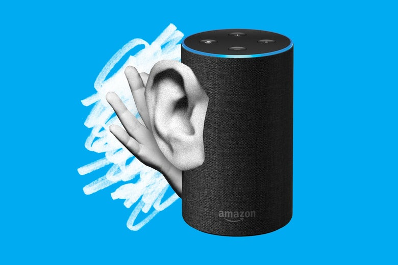 An Amazon Echo with an ear cupped with a hand, eavesdropping.