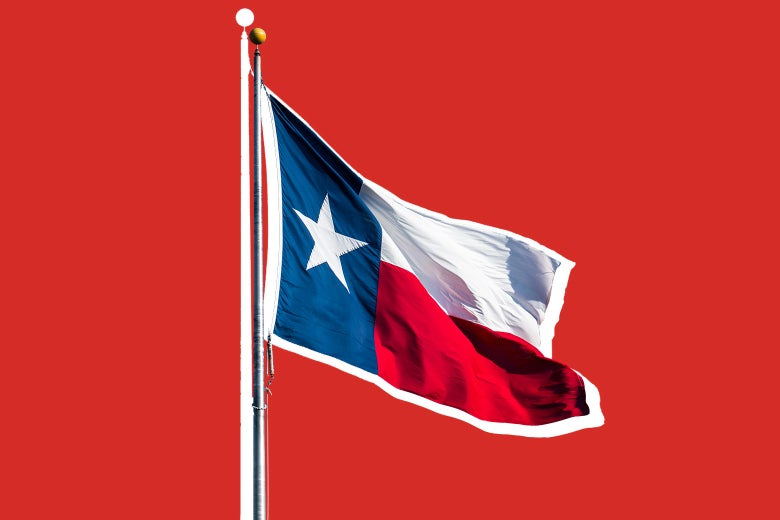 The Texas state flag against a red background.
