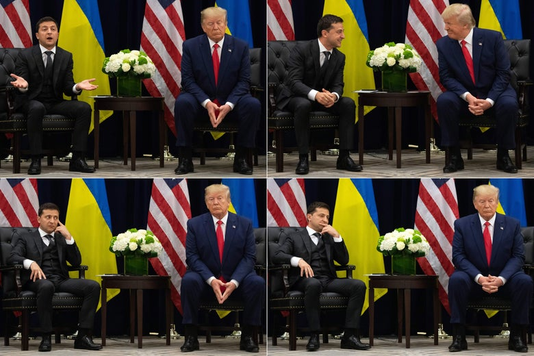Four photos of Trump and Zelensky sitting next to each other and talking, with their countries' flags behind them.