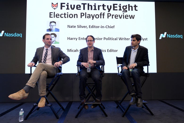 "Three white guys sit in chairs in front of a screen that says ""FiveThirtyEight Election Playoff Preview"""