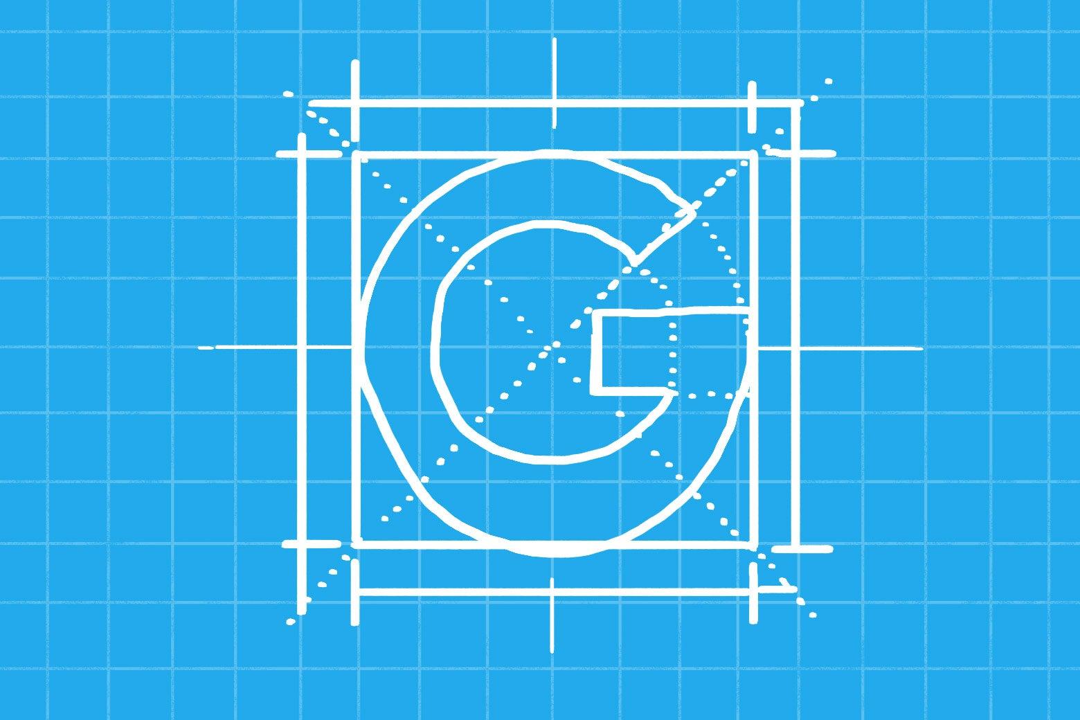 The Google logo in blueprint form.