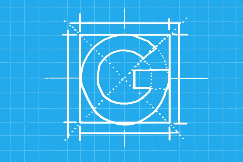 The Google logo in blueprint form.