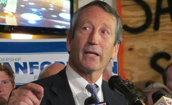 Former South Carolina Gov. Mark Sanford addresses supporters in Charleston, S.C., on Tuesday, March 19, 2013, after advancing to the GOP primary runoff in a race for a vacant South Carolina congressional seat.