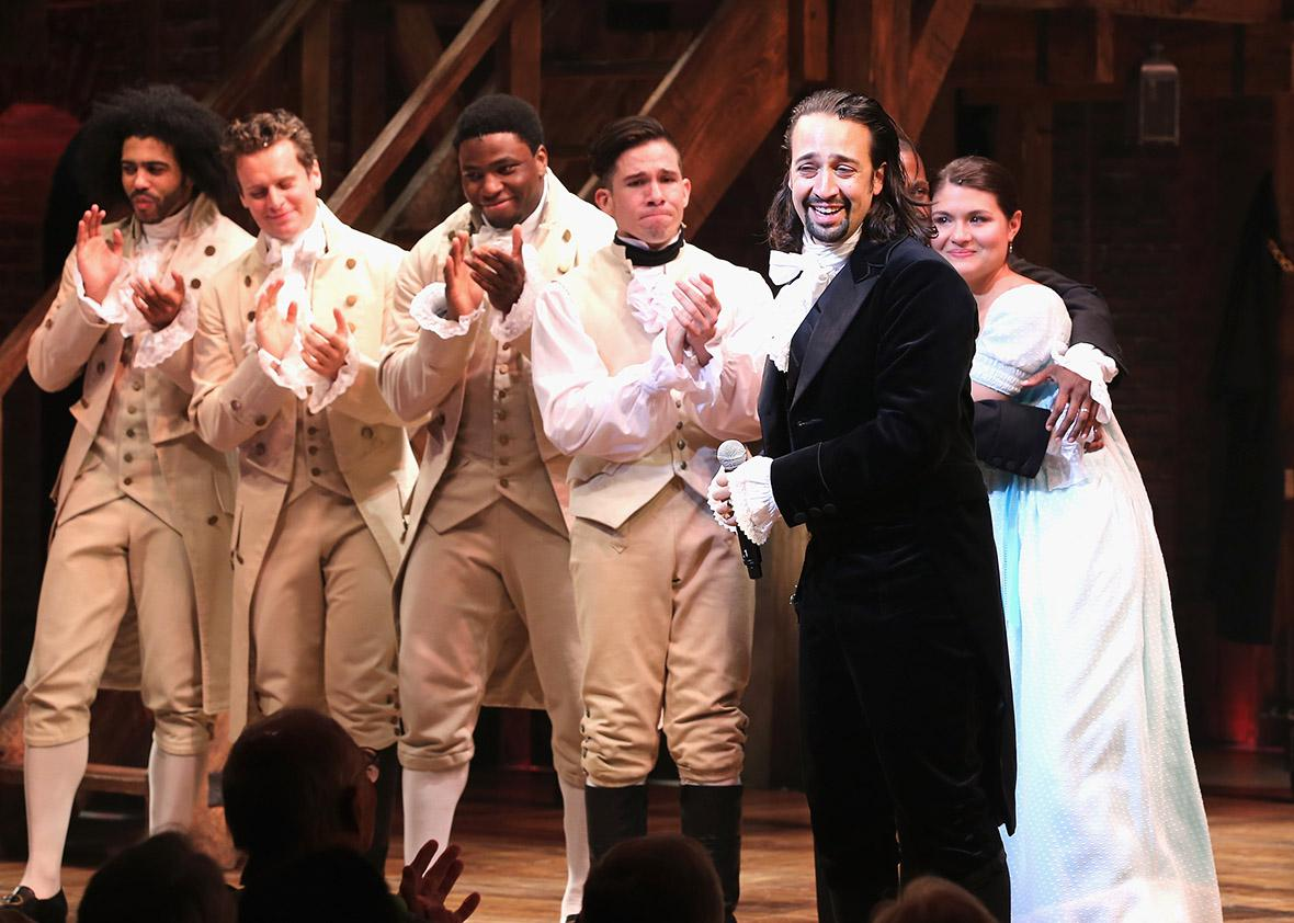 "Lin-Manuel Miranda performs at ""Hamilton"" Broadway."