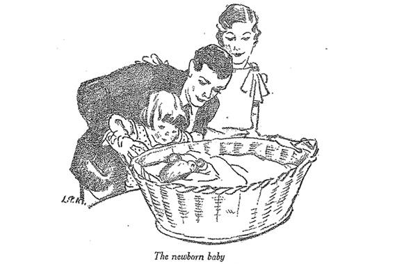 """An illustration from the 1929 """"Infant Care"""" handbook, published by the US Department of Labor's Children's Bureau."""