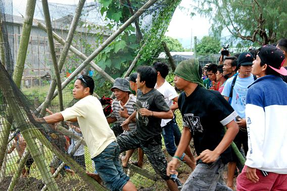 Crowd breaking through fence in prior to destroying field of golden rice, Phillipines.