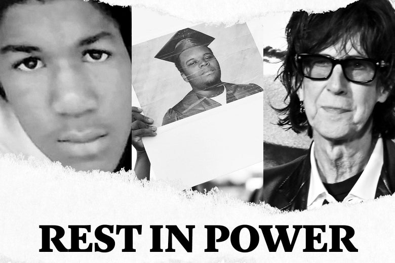 "Trayvon Martin, Michael Brown, Ric Ocasek and text that says, ""Rest in Power."""