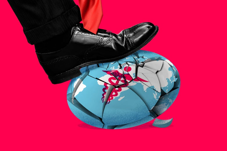 Illustration: A foot crushes a globe representing global health.