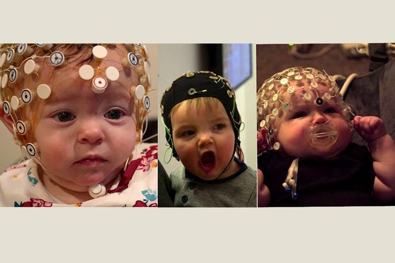 Three babies in EEG caps.