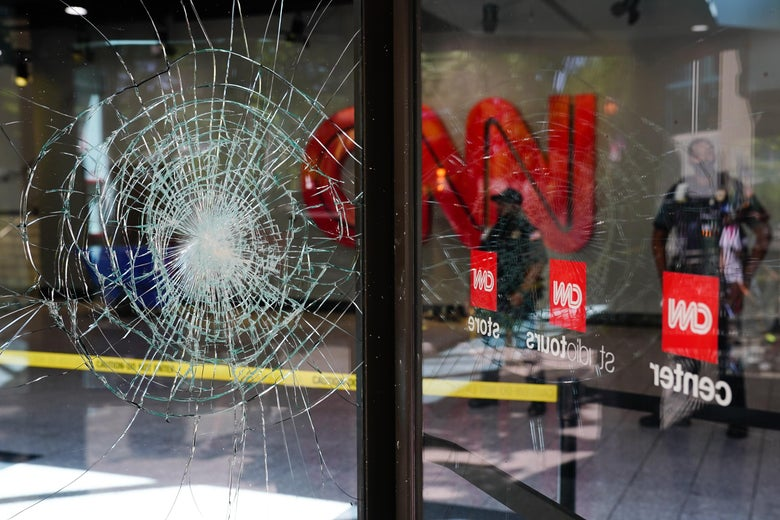 A crack in the glass door at CNN Center.